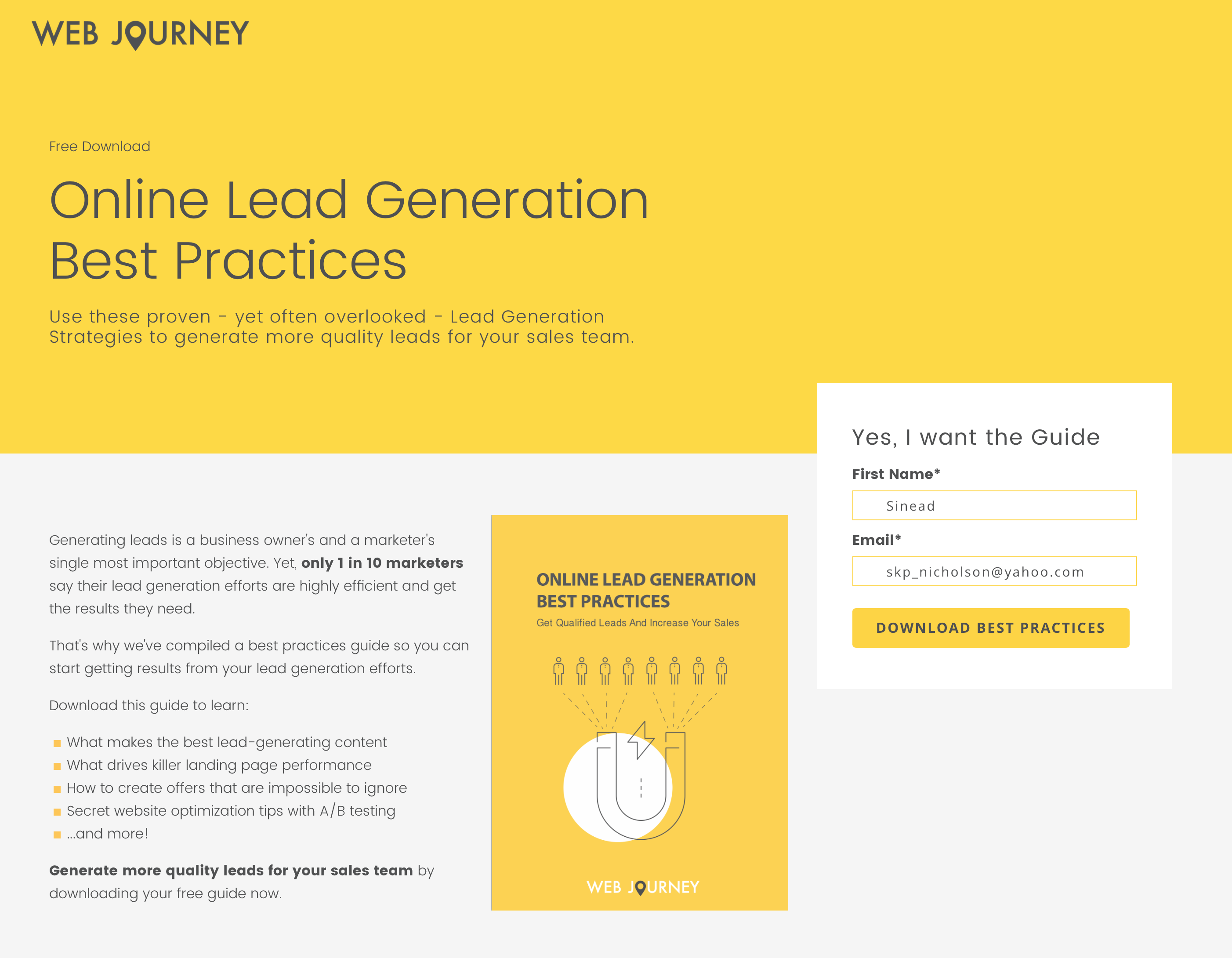 Guide To Running An Inbound Marketing Campaign - Inbound Landing Page Example